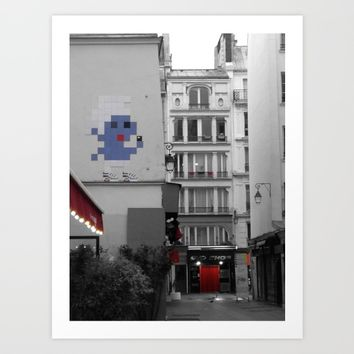 street art Paris black and white with color Art Print by Mr Splash