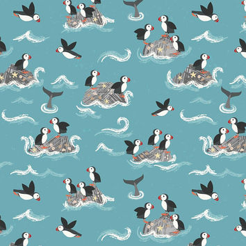 Puffin Bird Fabric, Spindrift, Lewis & Irene, Blue Fabric, Sea Life, Ocean Animals, Whale Tail, Ocean Waves, 100% Quilting Cotton Fabric