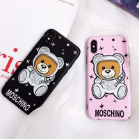 Moschino New fashion bear print leather couple protective case phone case