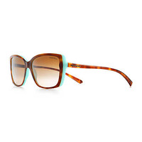 Tiffany & Co. - Tiffany Hearts® rectangular sunglasses in tortoise and Tiffany Blue® acetate.