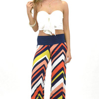 Laguna Sunset Coral Chevron Striped Palazzo Pants