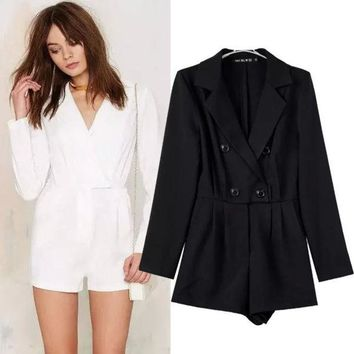 DCCKIX3 Women's Fashion Blazer Double Breasted Shorts Jumpsuit [4919014276]