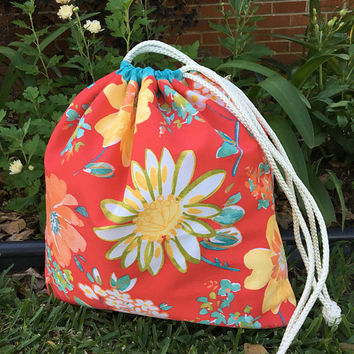 Personalized Drawstring Bag,Beach Bag,Laundry Bag,Monogrammed,Floral Print,Wet Bag,Eco Friendly Bag,Overnight Bag,Waterproof Lining