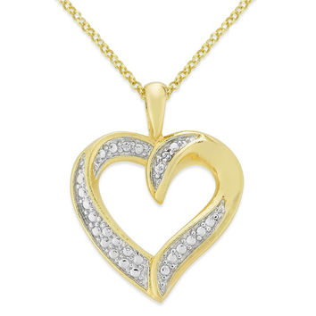 Finesque Overlay Diamond Accent Heart Necklace | Overstock.com Shopping - The Best Deals on Diamond Necklaces