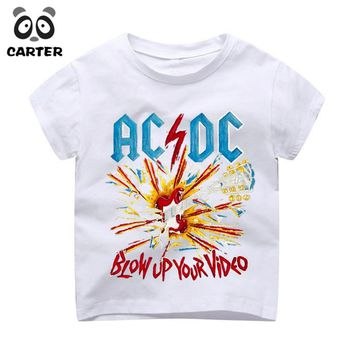 Kid's Rock Band ACDC Print T-shirts Boy and Girl Harajuku AC DC Tshirt Summer Baby Hipster Top Children Music Clothes