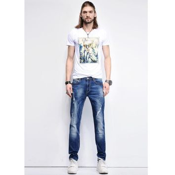 Jeans Denim Summer Ripped Holes Cotton Stretch Korean Cropped Pants [402185748509]