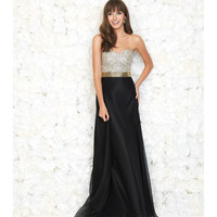 Black Strapless Chiffon Gown With Gold Beaded Sweetheart Bodice
