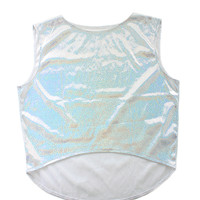 Silver Holographic Crop Top