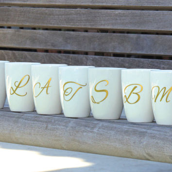 Bridal party coffee cups, wedding cups, bridal party gifts, personalized cups, monogrammed coffee mug