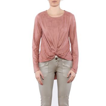 Faux Suede Knot Top
