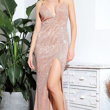 Shall We Dance Beige Rose Gold Sequin Sleeveless Spaghetti Strap Plunge V Neck Low Back High Slit Maxi Dress