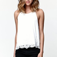 LA Hearts Goddess Neck Crochet Overlay Trim Tank Top - Womens Tees