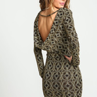 Glitter Diamonds Cowl Back Dress