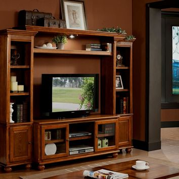 4 pc Dita light oak finish wood slim profile entertainment center wall unit with TV stand and side towers