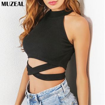MUZEAL Summer Black Crop Top Halter Sleeveless Sexy Lady Top Shirts Cross Belly Club Party Hot Girls Fashion Cropped TShirt 265