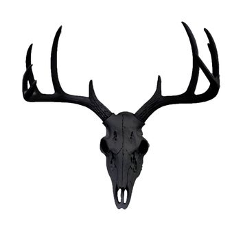 Mini Deer Head Skull | Faux Taxidermy | Black Resin
