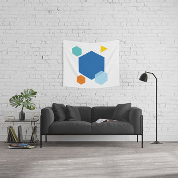 Color Cubes Wall Tapestry by spaceandlines