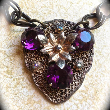 Sale Purple Rhinestone Necklace- Crystal Handmade Necklace-Art Deco Costume Jewelry