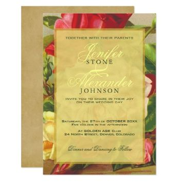 Golden frame chic elegant vintage roses wedding card