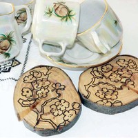 Wood Coasters drink coaster Asian Japanese
