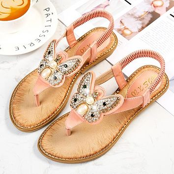 Hot fashion double toe sandals stone bow buckle stretch shoes Pink