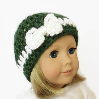 Christmas Doll Hat - Knit Doll Beanie - 18 Inch Doll Clothes