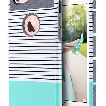 DCCKRQ5 iPhone 6s Case Mint for Cute Girls, iPhone 6 Case, ULAK Hybrid Slim Case With Hard PC and Inner Rubber Cover for Apple iPhone 6S 4.7 Inch & iPhone 6 4.7 Inch Device (Grey/Minimal Mint Stripes)
