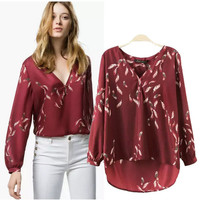 Stylish V-neck Long Sleeve Feather Print Pullover Tops Shirt [5013323332]