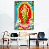 Lakshmi ji HD Wallpapers Wall Art Canvas Poster And Print Canvas Painting Decorative Picture For Office Living Room Home Decor