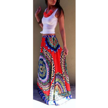 Boho Women Floral Print Elastic Waist Pleated Summer Beach Long Maxi Dresses