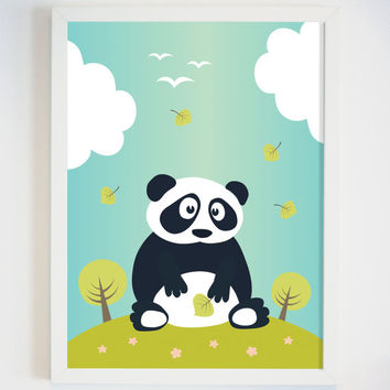 Panda Bear Art Print for Wall -  Animal Art for Baby Nursery - Kids Wall Art for Playroom - Panda Picture - Baby Room Decor - Baby Gift