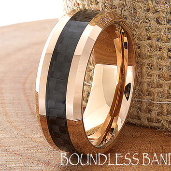 Rose Gold Wedding Band 18K Mens Tungsten Carbide Wedding Ring 8mm Custom 5-15 Half Sizes Black Carbon Fiber Inlay Comfort Fit Polish Bevel
