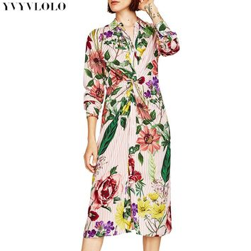 Floral Print Kimono Dress Women 2018 Europe V collar long sleeve Knot Plunge Neck Sexy Summer stripe Dresses Fashion maxi dress