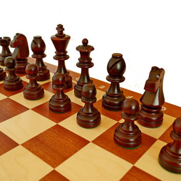 Professional Large Staunton Chess Set, Inlaid chess board + wooden box for Weighted Pieces -Mahogany!
