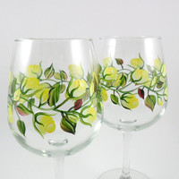 Hand Painted Wine Glasses Yellow Roses Set of 2