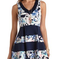 Floral Color Block Skater Dress by Charlotte Russe - Blue Combo