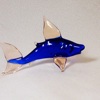 Glass Shark Figurine Shark Sculpture Shark Figure Glass Figurine Glass Figure Animal Sculpture Figurine Handmade Sea Fish Glass Blue(137)