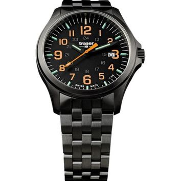 P67 Officer Pro Gunmetal Black /Orange 107870 Men'S Swiss Watch Pvd Coated Steel