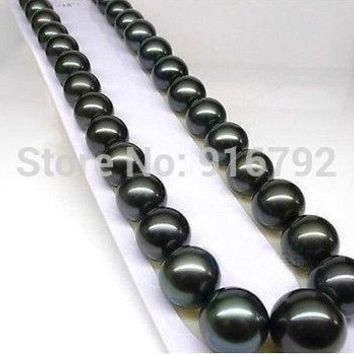 18'' 10-11Mm Tahitian Black Pearls Necklace A