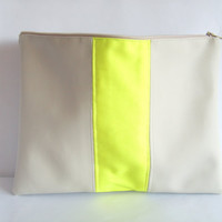 Vegan leather clutch, neon clutch, colorblock clutch, portfolio clutch, grey and neon yellow