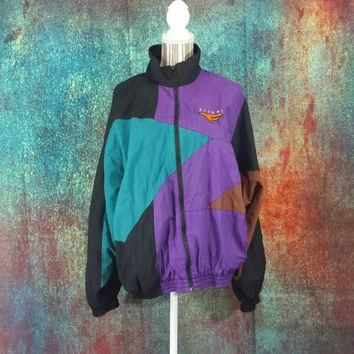 Nike Flight Windbreaker Vintage Mens Large Retro 90s Hip Hop ColorBlock Nylon 80s Jack