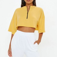 Missguided - Yellow Zip Boxy Crop Top