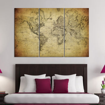 Canvas Print Watercolor World Map Canvas from EDecorShop on Etsy