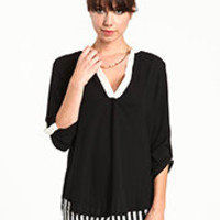 Black Contrast Blouse