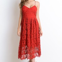 Forever Yours Red Lace Midi Dress