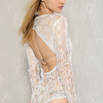 Sexy White Low V-Cut Neckline Long Sleeve Back Cut-Out Dressy Bodysuit