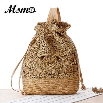 MSMO 2017 Summer Crochet Straw Bag Backpack Vines Beach Knitting Bag Women Drawstring Bags Sackpack Travel Back pack Hollow Out
