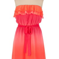 Ruffle Front Ombre Tube Dress
