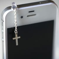 Elegant SILVER CROSS Iphone Earphone Plug/Dust Plug - Cellphone Headphone Handmade Decorations