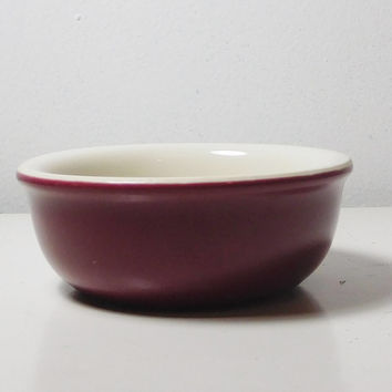 Small Maroon Bowl Signed Hall Made in USA Trinket Dish Stoneware Cookware Custard Cups Soup Bowl Kitchen Decor No chips or cracks